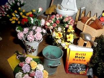 Nostalgie Blumenladen 1:12 Mini Puppenstube KOMPLETT Laden DEKO  Puppenhaus