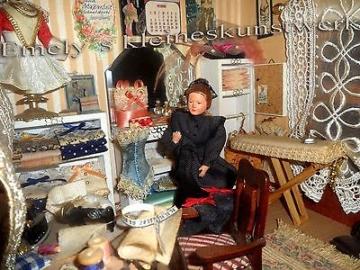 Nostalgie Nähstube Schneiderei Zunft Miniatur Näherei 1:12 Mini Puppenstube