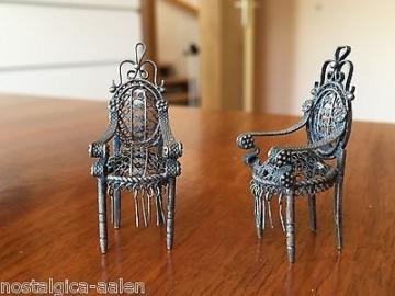 Selten Schöne Puppenstuben Möbel in Silber - Fa. Kühn (Schwäbisch Gmünd)