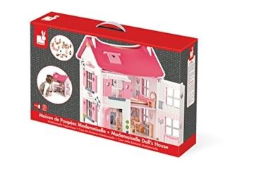 Janod 05725 - Puppenhaus plus Möbel mit 17 Accessoires, rosa -
