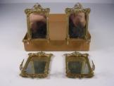 4 Antike Puppenstuben Salon Wand Spiegel Zinn um 1900