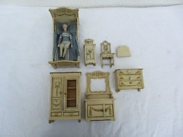 Altes Puppenstubenmöbel Jugendstil Schlafzimmer