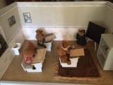 Antike Bären Schule, Puppenstube, Kaufladen, Kaufmannsladen mit viel Zubehör
