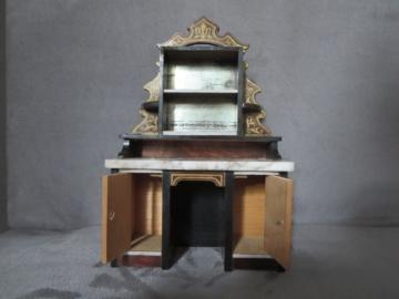 ANTIKER ORIGINAL BOULLE VERTIKO UM 1890 PUPPENKÜCHE PUPPENSTUBE KAUFMANNSLADEN