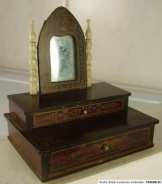 Antiker Seltener Puppenstuben Nähkasten + Spiegel um 1880