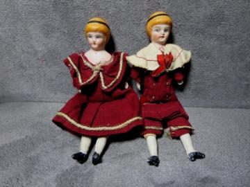 ANTIKES PUPPENPAAR 2 PORZELLANPUPPEN UM 1900 RARITÄT FÜR PUPPENSTUBE PUPPENKÜCHE