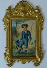 Antikes Puppenstuben Bild Erhard & Söhne um 1900 Der kleine Schmetterlingsfänger