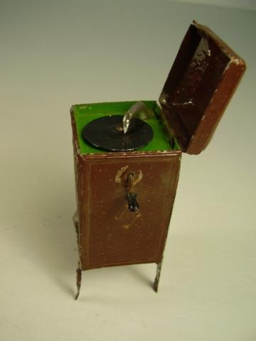 Antikes seltenes Puppenstuben Zinn Grammophon vor 1945