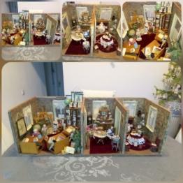"""""""Drei Zimmer Puppenstube"""", groß,alte Tapeten, Porzellanpuppen,Schule, Wohnzimmer"""