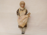 ESF-04358Alte Puppenstuben Puppe Amme mit Kind, Porzellankopf und Gliedmaße