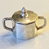 Miniatur Zuckerdose aus 800 Silber für Puppenstube Wien um 1922