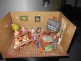 Puppenstube Schule- Pappe- 33x22x41 cm